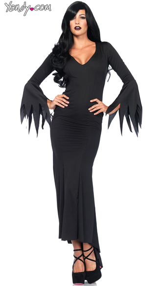 Floor Length Gothic Dress Costume, Gothic Black Dress Costume, Witch Dress Costume