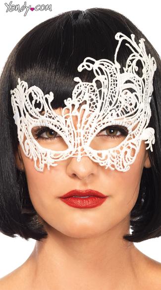 Fantasy Venetian Eye Mask - White