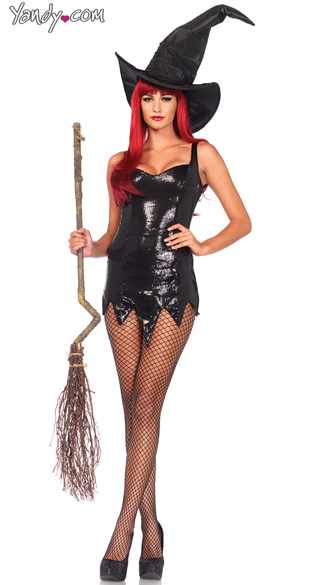 Black Sequin Dress, Glam Halloween Costume Dress, Black Sweetheart Cocktail Dress, Extra Large Scrunched Witch Hat, Large Witch Hat, Fence Net Pantyhose, Sexy Pantie Hose, Fence Net Pantyhose
