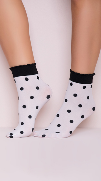 Polka Dot Ankle Socks, Black and White Socks, Polka Dot Socks