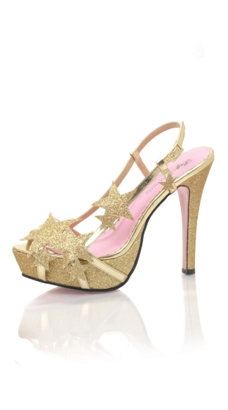 Starlight Strappy Sandals, Star Sandals, Gold Platform Sandals, Gold Platform Heels - Yandy.com