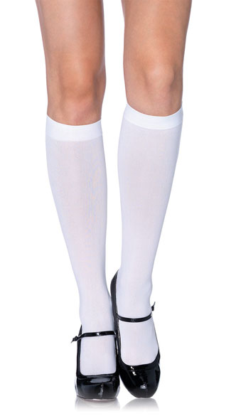 Nylon Opaque Knee Highs - White