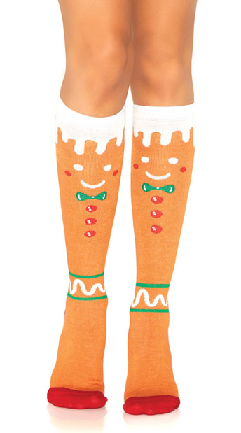 Gingerbread Man Knee High Socks - as shown