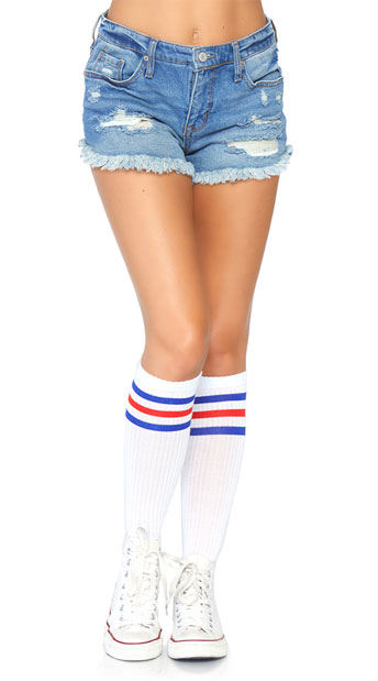 33a9d2114 Athletic Striped Knee Highs - White Blue ...