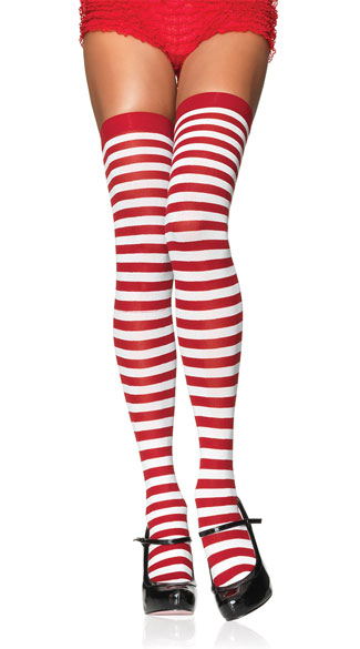 Nylon Zebra Striped Stockings - Red/White