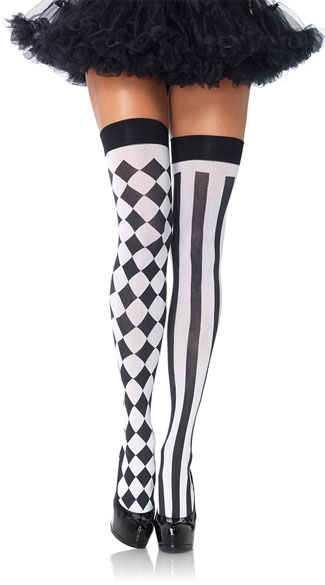 Harlequin Stockings - Black/White