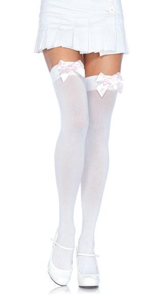 Plus Size Thigh High Nylon Stockings w/ Bow - White W/ White Bows