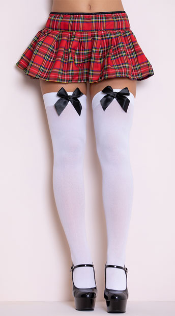 Opaque Thigh Highs with Satin Bow - White W/ Black Bows