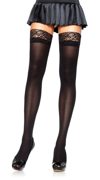 Opaque Thigh Highs with Lace Top - Black