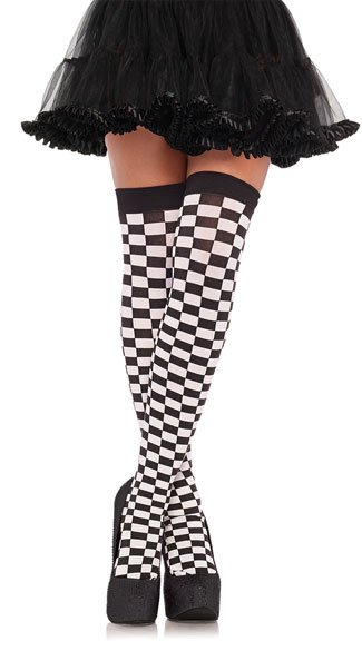 Eye Catching Checkered Stockings - Black/White
