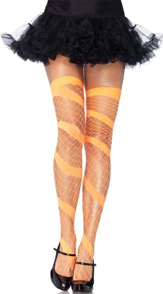 Diamond Net Swirl Thigh Highs - Neon Orange