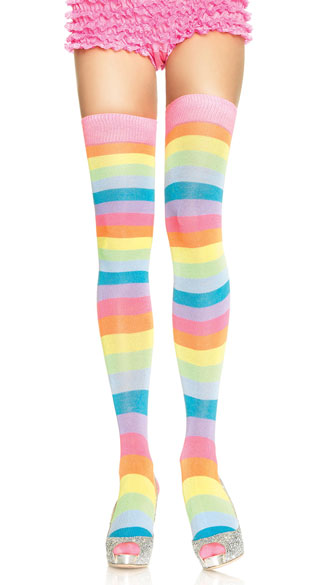 Pastel Striped Thigh Highs, Striped Colored Stockings