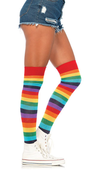Lycra Rainbow Thigh High Stockings - Multi-Color