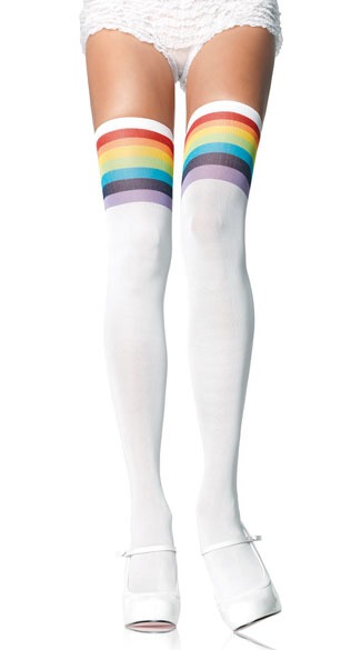 Over The Rainbow Thigh High Socks - Multi-Color