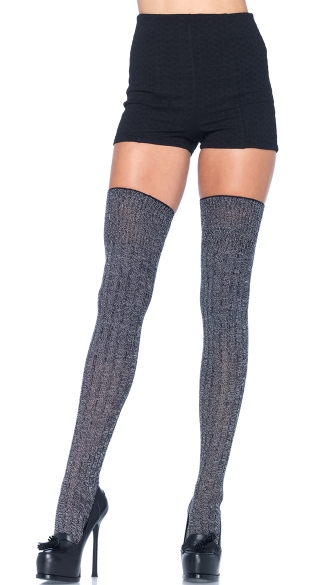 Grey Good Girl Thigh High Stockings, Thick Grey Thigh High Socks, Grey Thigh High Stockings with Stripes