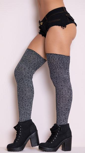 Grey Good Girl Thigh High Stockings - Grey