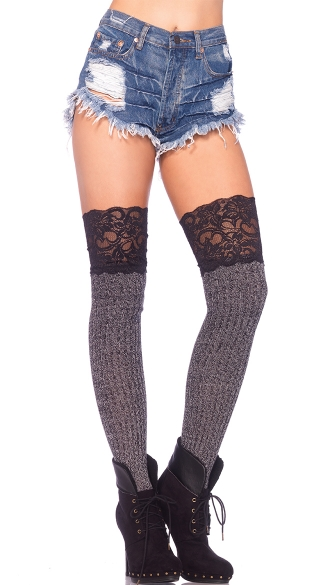 Knit Thigh High Socks with Lace Top, Knit Thigh Highs, Lace Top Socks