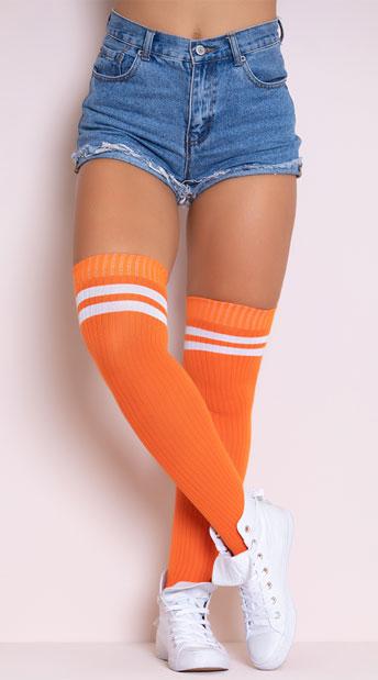 Ribbed Athletic Thigh High Stockings - Orange/White
