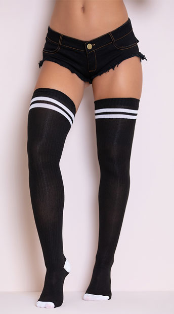 Ribbed Athletic Thigh High Stockings - Black/White