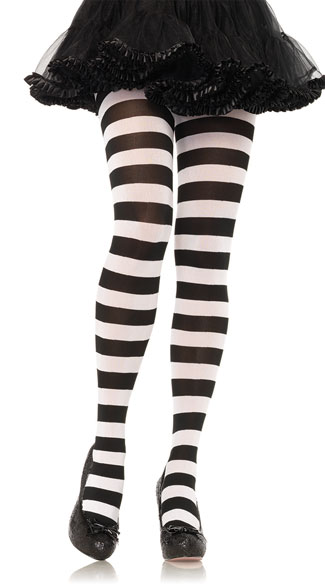 Wide Striped Tights, Sexy Tights With Wide Stripes, Sexy Wide Striped Tights
