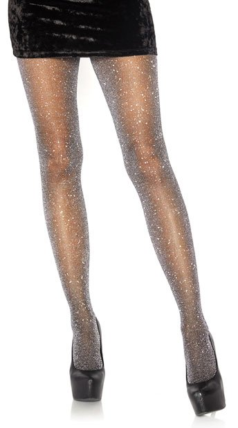 Look At Me Lurex Shimmer Tights - Silver