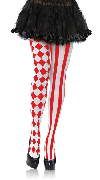 Harlequin Print Pantyhose - Red/White