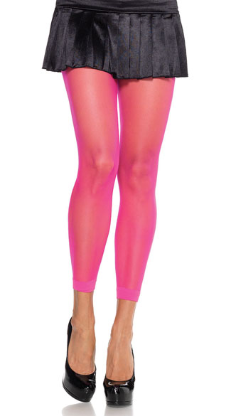 Hot Pink Footless Tights, Neon Footless Tights