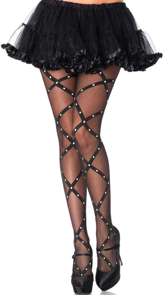Criss Cross Sheer Pantyhose - Black