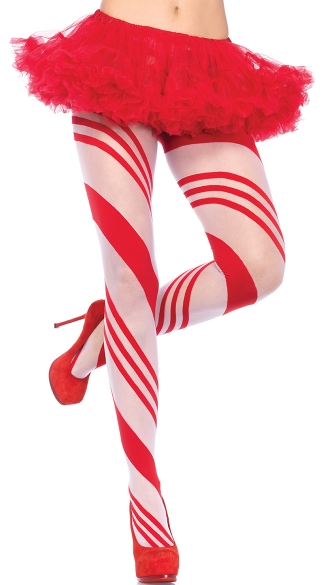 Candy Cane Pantyhose - Red/White