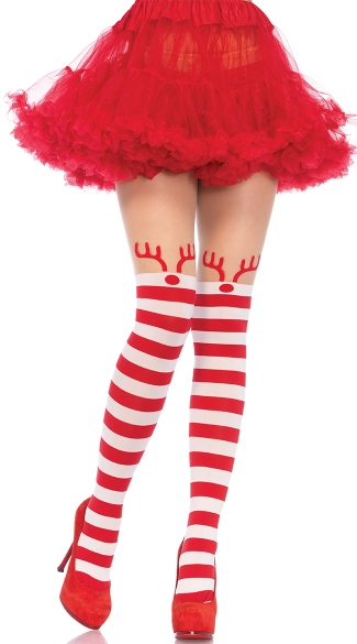 Rudolph Striped Pantyhose, Red and White Striped Pantyhose, Reindeer Pantyhose