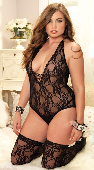 Plus Size Floral Teddy and Stockings, Plus Size Black Lace Teddy