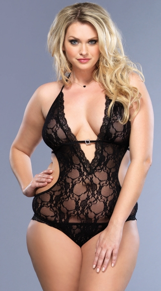 Plus Size Sexy Halter and Double Tie Back Teddy - Black