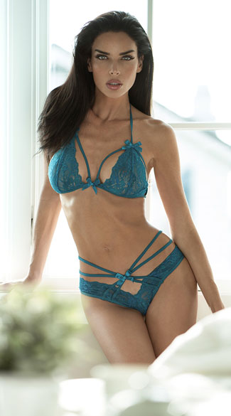 Strappy Halter Bra and Brazilian Panty - Peacock Blue