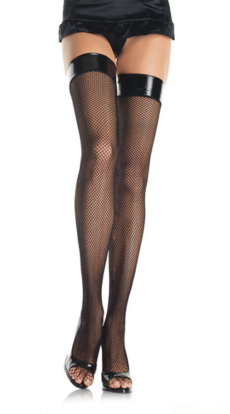 Fishnet Stocking with Vinyl Top, Vinyl Top Thigh High Stockings
