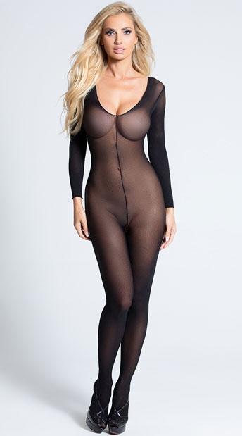 Sheer Long Sleeve Bodystocking - Black