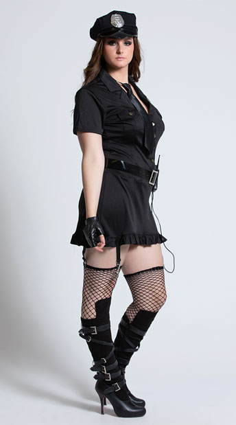 Plus Size Dirty Cop Halloween Costume - Black