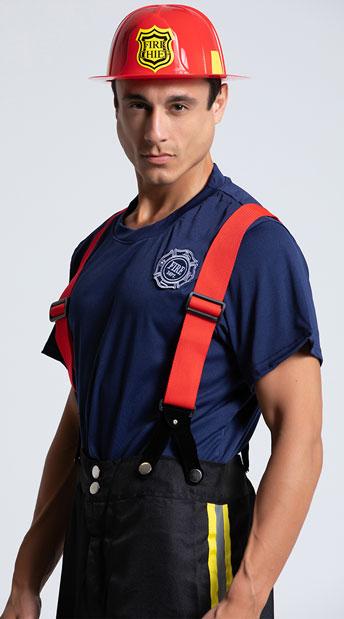 Mens Firefighter Costume - Black/Red