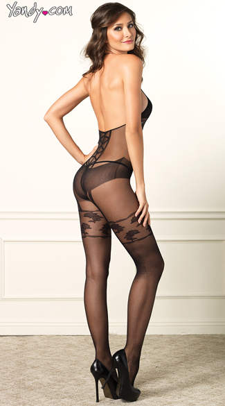 Faux Garter Corset Body Stocking - Black
