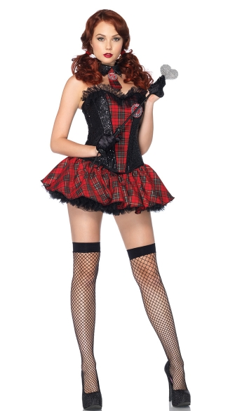 Academy Cutie Costume, Red Plaid Schoolgirl Costume -8904