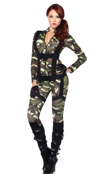Pretty Paratrooper Costume, Sexy Paratrooper Costume, Camouflage Bodysuit Costume, Camo Body Suit