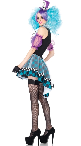Plus Size Crazy Mad Hatter Costume - Black/Blue