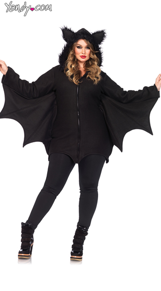 Cozy Bat Hoodie, Fleece Black Bat Fur Jacket, Black Fleece Bat Wing Hoodie