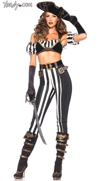 Black Beauty Pirate Costume - Black/White