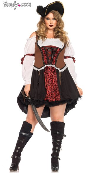 Plus Size Ruthless Pirate Wench Costume - As Shown