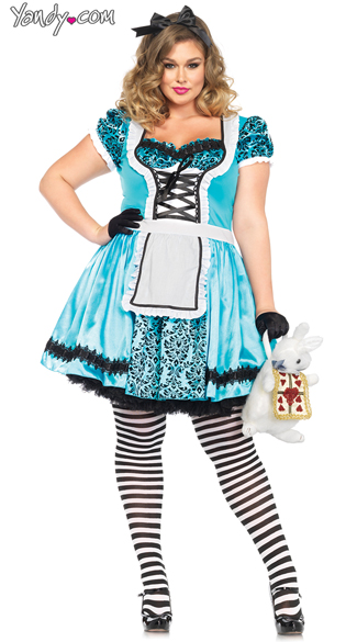 Plus Size Tea Party Alice Costume - Blue/Black