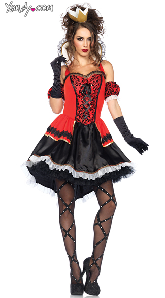Royally Sexy Queen Costume, Red and Black Queen Of Hearts Costume, High Collar Queen of Hearts Costume