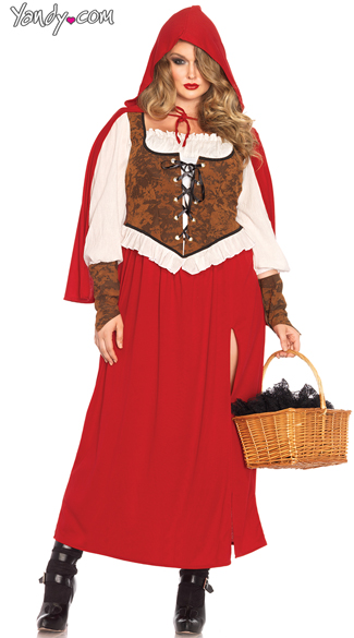 Plus Size Red Riding Hood Costume, Plus Size Adult Red Riding Hood Costume, Plus Size High Slit Red Riding Hood Costume