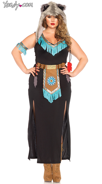 Plus Size Wolf Warrior Costume , Plus Size Indian Costume -9860