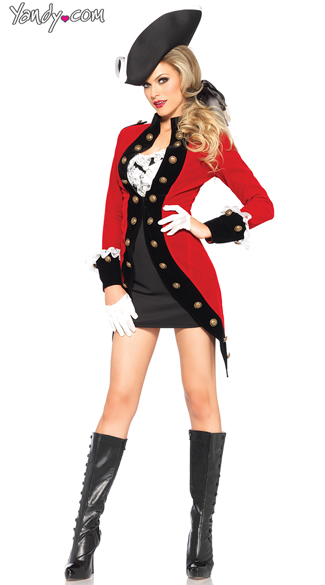 Sexy Red Coat Military Costume - Red/Black