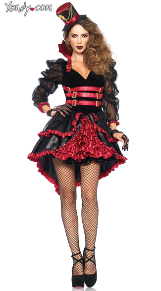 Victorian Vamp Costume, Red and Black Victorian Vampire Costume, Steampunk Red and Black Vampire Costume